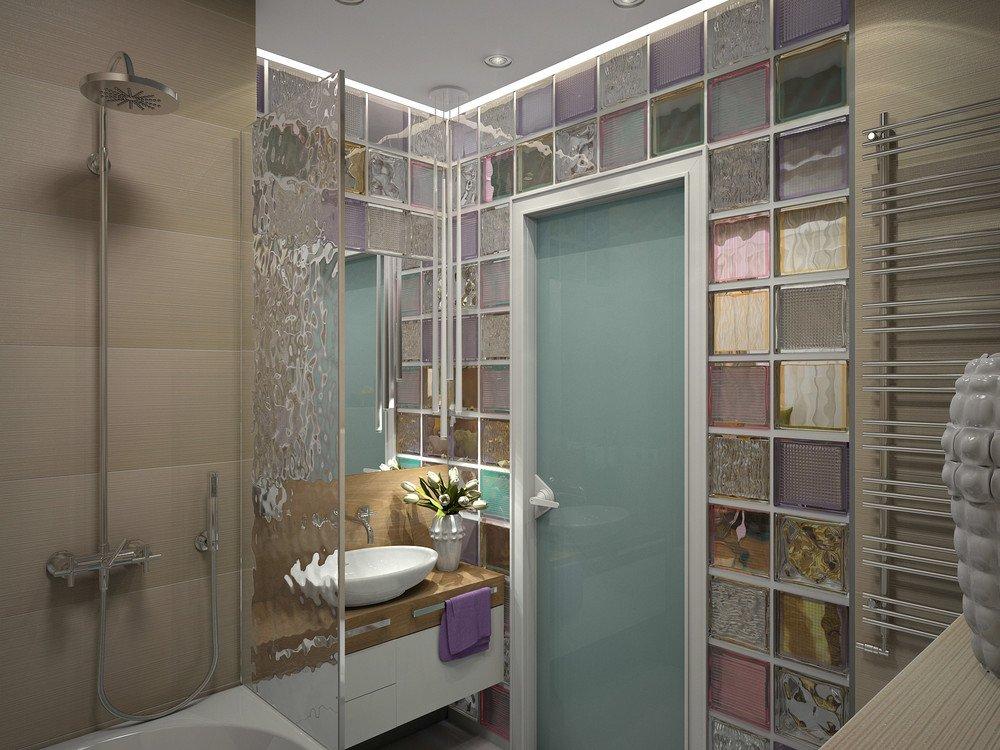 Fürdőszoba újratervezés üvegtéglákkal (3D látványterv) - Inspiráló ...